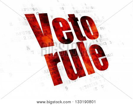 Political concept: Pixelated red text Veto Rule on Digital background