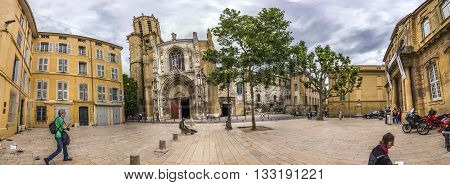 Famous Church Cathedrale Sainte Sauveur In Aix En Provence