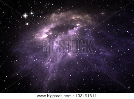 Space background with nebula and stars. Illustration