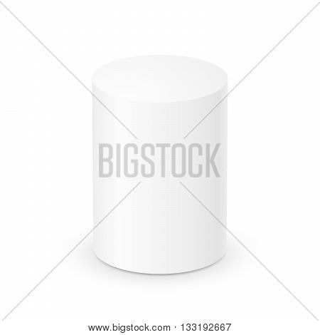 Blank white cylinder on white background. 3d template