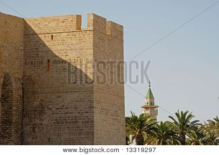 Fortress, palm-trees and minaret