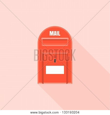 Mail box  post illustration, Post box vector, mail box post isolated with long shadow flat design, Red letter box icon