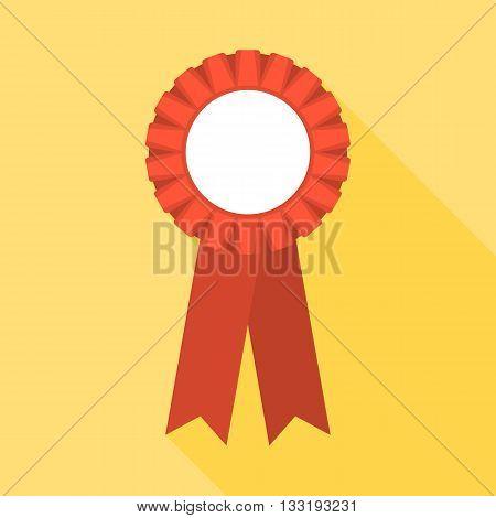 Blank Red Rosette illustration, rosette icon flat design