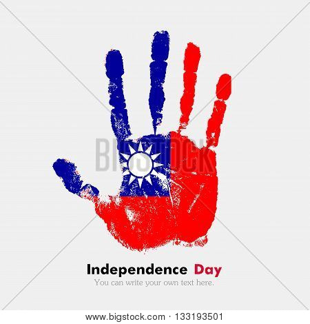 Hand print, which bears the Flag of Taiwan. Independence Day. Grunge style. Grungy hand print with the flag. Hand print and five fingers. Used as an icon, card, greeting, printed materials.