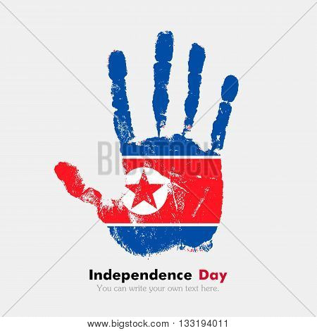 Hand print, which bears the Flag of the Democratic Peoples Republic. Independence Day. Grunge style. Grungy hand print with the flag. Hand print and five fingers. Used as an icon, card, greeting, printed materials.
