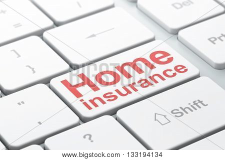 Insurance concept: computer keyboard with word Home Insurance, selected focus on enter button background, 3D rendering