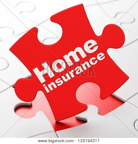 Insurance concept: Home Insurance on Red puzzle pieces background, 3D rendering