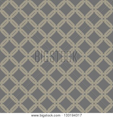 Geometric fine abstract vector octagonal background. Seamless modern pattern. Gray and golden pattern