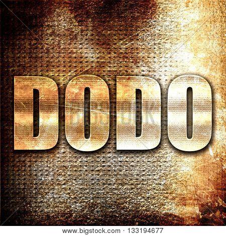 Dodo, 3D rendering, metal text on rust background
