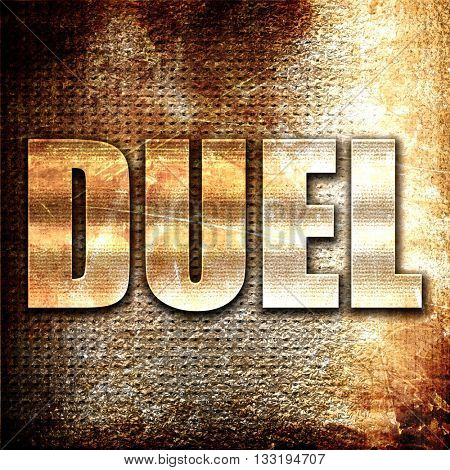 duel, 3D rendering, metal text on rust background