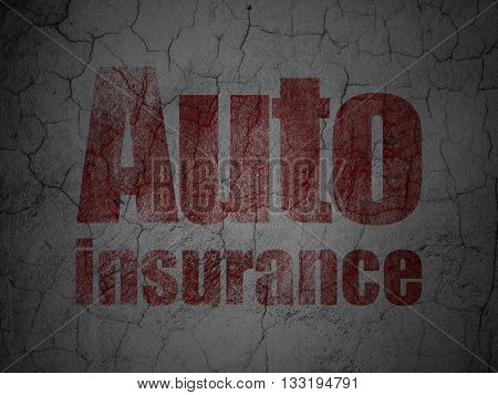 Insurance concept: Red Auto Insurance on grunge textured concrete wall background