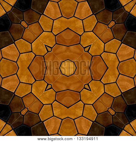 dark woody floral stone mosaic kaleidoscope seamless pattern backgound with black grout