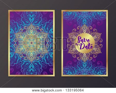 Rich Wedding Invitations Indian style. Bohemian Cards Save this date with mandalas. Deep purple and gold. Unique cards for printing supplies