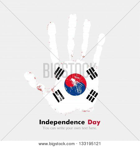 Hand print, which bears the Flag of the Republic of Korea. Independence Day. Grunge style. Grungy hand print with the flag. Hand print and five fingers. Used as an icon, card, greeting, printed materials.