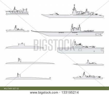 Vector illustration. Military set warships: a squadron, a minesweeper, a battleship, a fleet, a frigate and other.