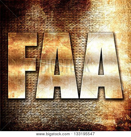 faa, 3D rendering, metal text on rust background