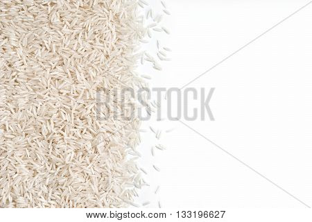 White rice on white background . Close up, top view, high resolution product.