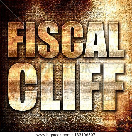 fiscal cliff, 3D rendering, metal text on rust background