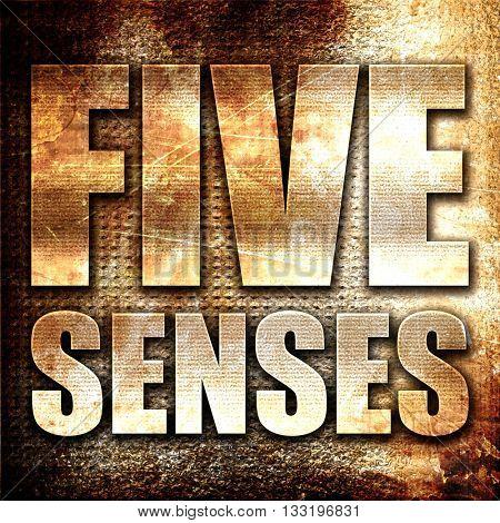 five senses, 3D rendering, metal text on rust background