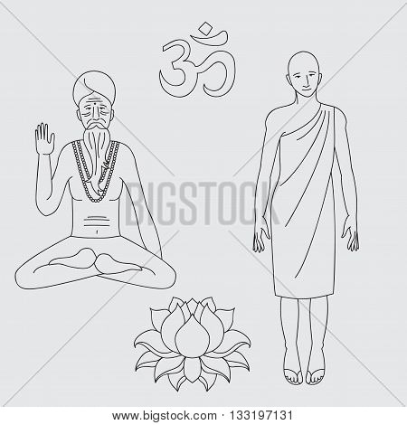 outline yoga meditating sadhu logo asia hinduism monk india religious man character Outline buddhist monk Om sign. Hand drawn lotus flower. Isolated icons of Mudra. Vintage decorative elements. Indian Hindu buddhism motifs. Tattoo yoga spirituality