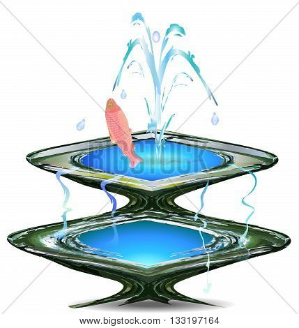 Stone fountain with pink fish and water drops on a white background