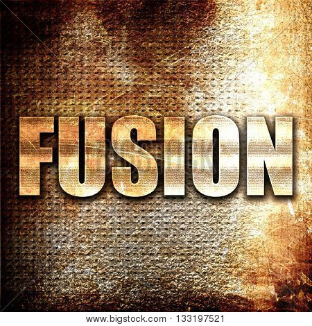 fusion, 3D rendering, metal text on rust background