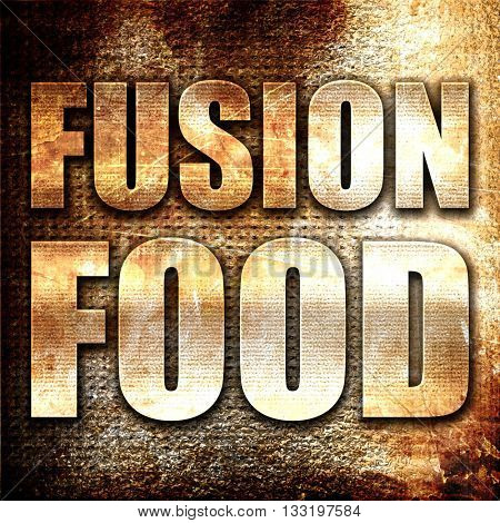 fusion food, 3D rendering, metal text on rust background