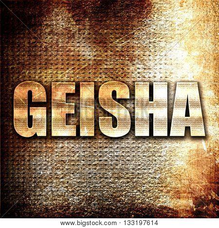 geisha, 3D rendering, metal text on rust background
