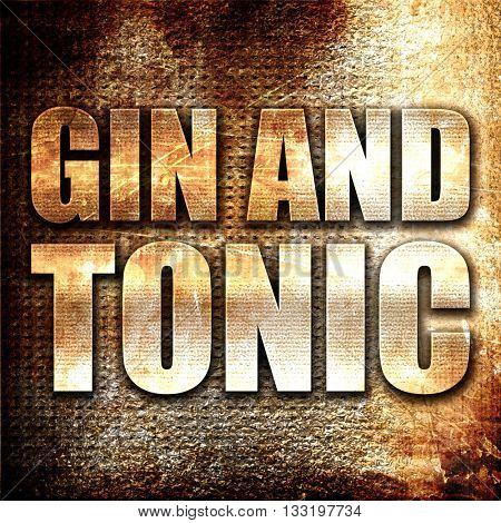 gin and tonic, 3D rendering, metal text on rust background