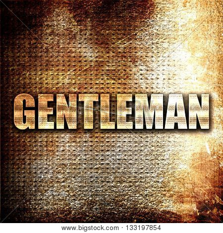 gentleman, 3D rendering, metal text on rust background