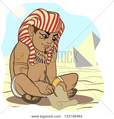 Funny cartoon style ancient Egyptian wrighting on a papyrus with a stylus. EPS8 vector illustration.