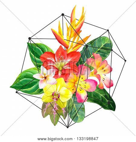 Illustration with realistic watercolor flowers. Beautiful bouquet with tropical flowers and plants on white background. Composition with amaryllis, palm leaves, plumeria, strelitzia and orchid.