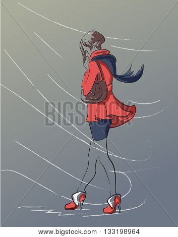Lonely girl in a red coat  and dark blue shawl walking through  blizzard and warming her hands with her breathing. EPS8 Vector Illustration.
