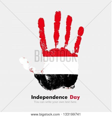 Hand print, which bears the Flag of Yemen. Independence Day. Grunge style. Grungy hand print with the flag. Hand print and five fingers. Used as an icon, card, greeting, printed materials.