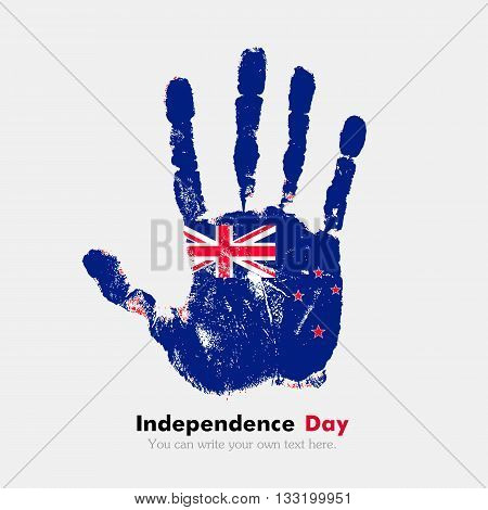 Hand print, which bears the New Zealand flag. Independence Day. Grunge style. Grungy hand print with the flag. Hand print and five fingers. Used as an icon, card, greeting, printed materials.