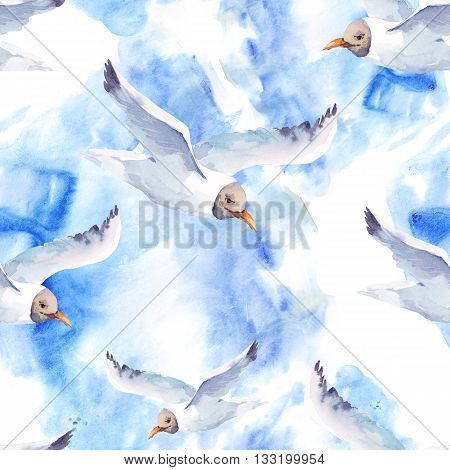 Summer watercolor seamless pattern with seagull Hand painted nautical illustration