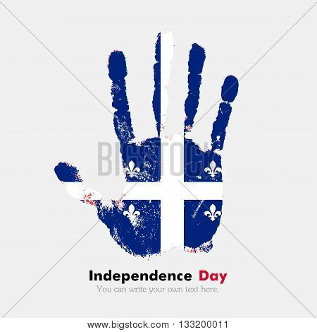 Hand print, which bears the Quebec flag. Independence Day. Grunge style. Grungy hand print with the flag. Hand print and five fingers. Used as an icon, card, greeting, printed materials.