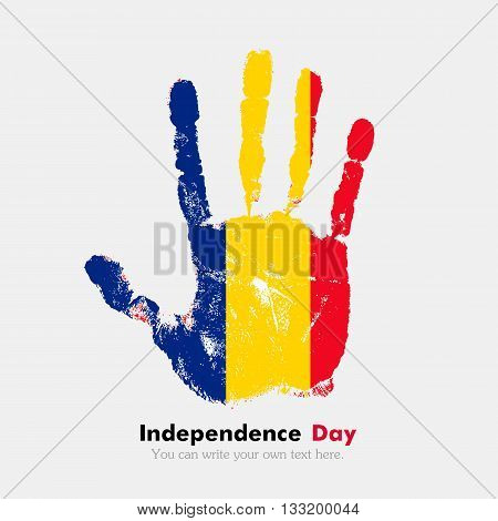 Hand print, which bears the Romanian flag. Independence Day. Grunge style. Grungy hand print with the flag. Hand print and five fingers. Used as an icon, card, greeting, printed materials.