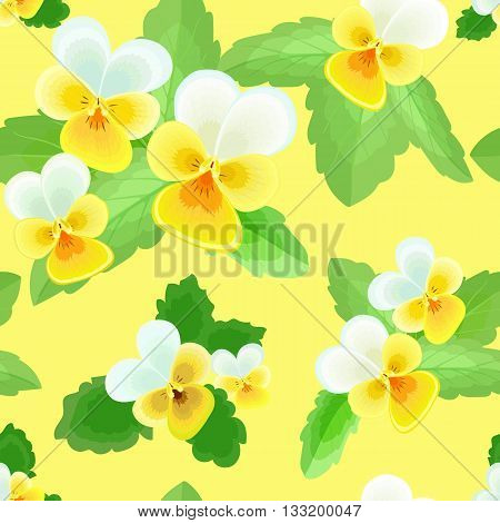 Pansy with leaves.Seamless pattern with yellow and white flowers on a yellow background.Floral vector illustration.Can be used for textilefabricwrapping paper.
