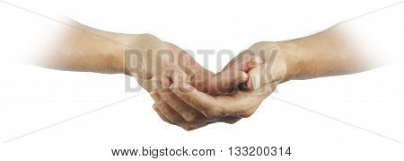 Ask believe receive -  Female gently cupped hands emerging from a white background with a religious, pure feel
