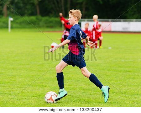 Schleswig Holstein, Germany, June 05, 2016: Young soccer player on the soccer field in action on June 5th, 2016