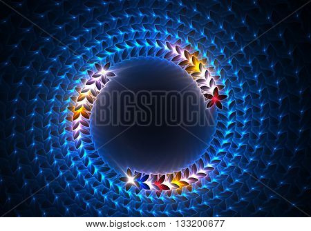 Blue abstract swirl decoration on a black background. Illustration