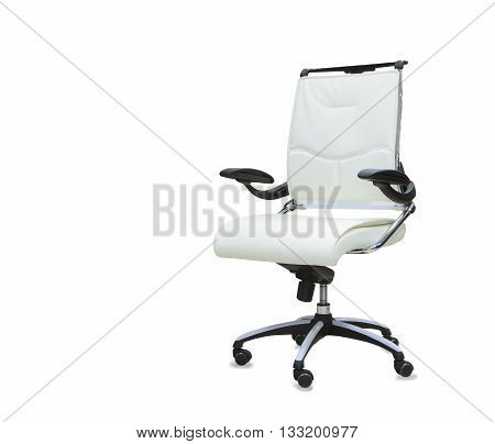 new Office chair from white leather isolated