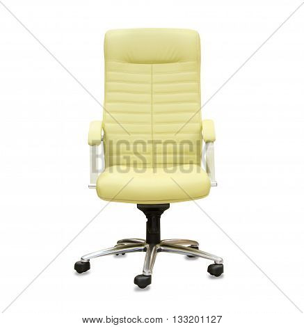 Modern office chair from yellow leather isolated over white