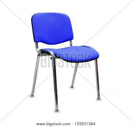 The blue office chair. Isolated over white