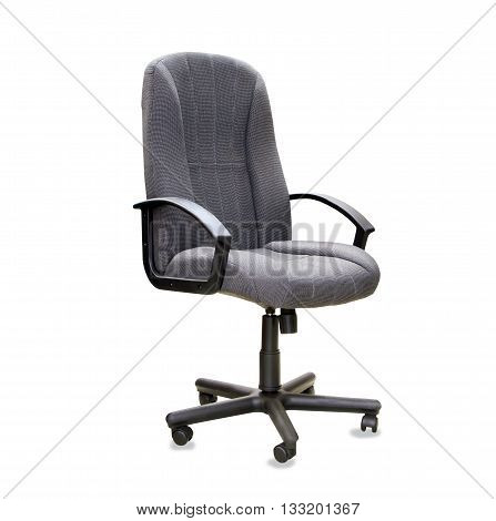Modern office chair from grey cloth isolated over white