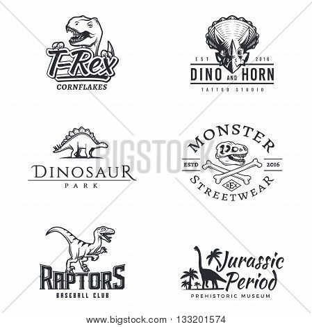 Dino logo set. Dinosaur logotype. Raptor sport mascot design. Vector T-rex template. Jurassic period illustration. Dino park insignia concept. Ancient world badge collection