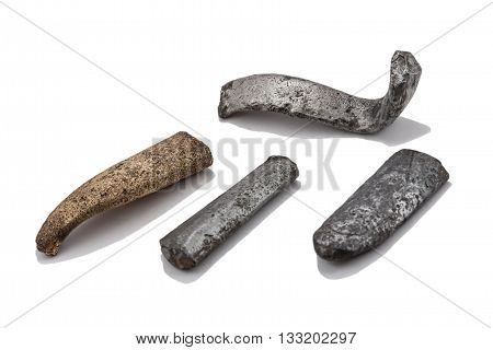 So-called jeweler ingots from archeological excavations metal cast ingots of a different form from silver brass and bronze with tin impurity.