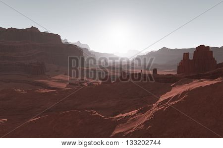Sunset on Mars. Mars mountains view from the valley. 3D illustration