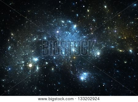 Space background and stars with blue space nebula. Illustration